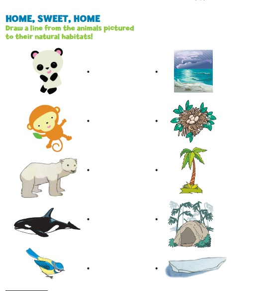 free animal's habitat worksheet