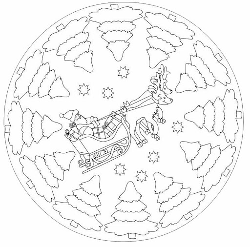 Christmas Mandala Coloring Page. Adult Coloring Book. Holiday ... | 506x512