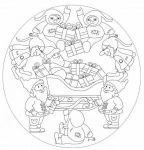 santa claus mandala coloring page
