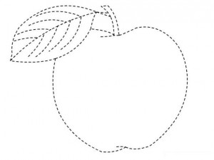 apple trace line worksheet for kids (1)