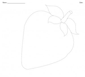 strawberry trace line worksheet for kids
