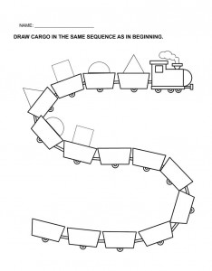 train worksheet for kids
