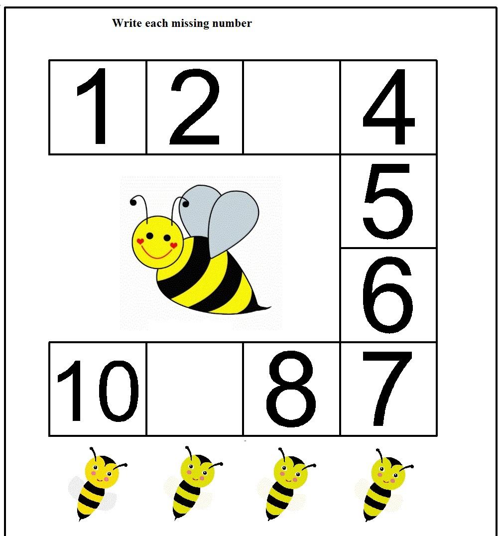 Kindergarten Worksheets Missing Numbers