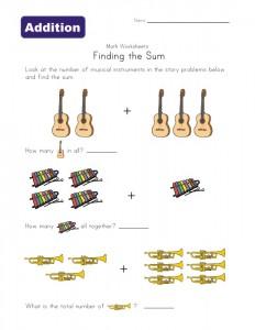musical instruments addition worksheet