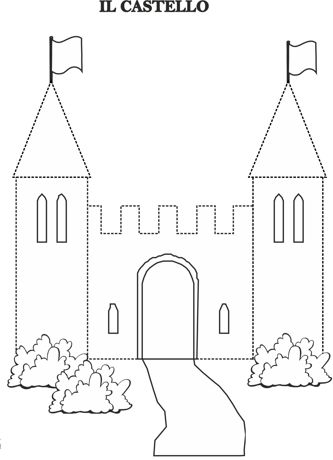 castle-trace-line-worksheet Queen Worksheet For Pre on prefixes re, writing shapes, printable letter, tracing shapes, grade printable, algebra fractions, printable matching,