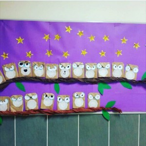 paper bag owl bulletin board