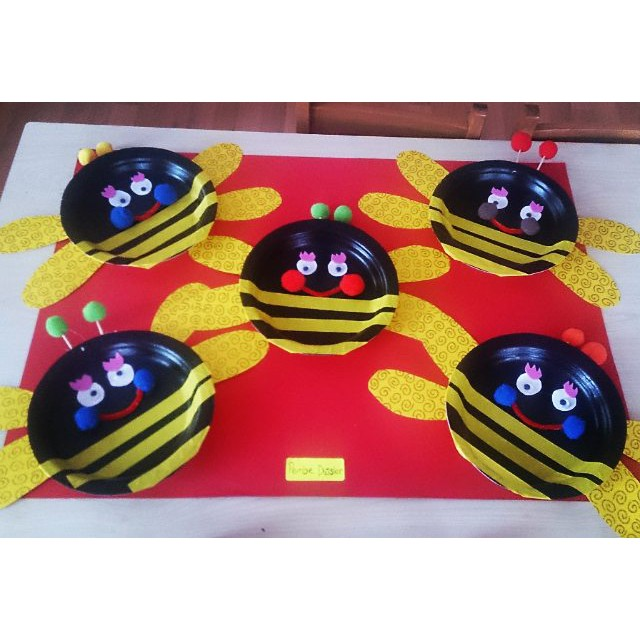 paper plate bee craft