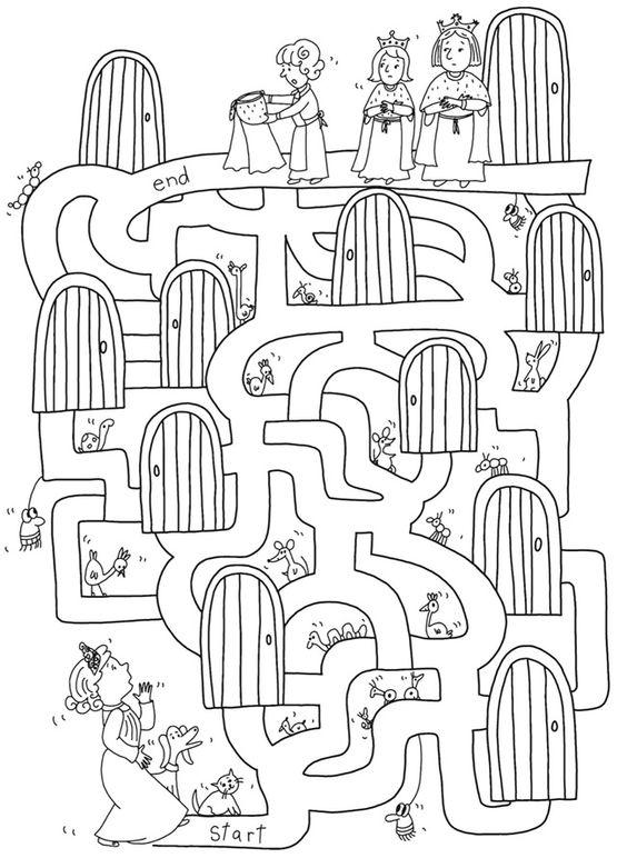 princess maze worksheet for kids