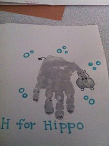 Handprint Hippo Craft X on preschool human body activities