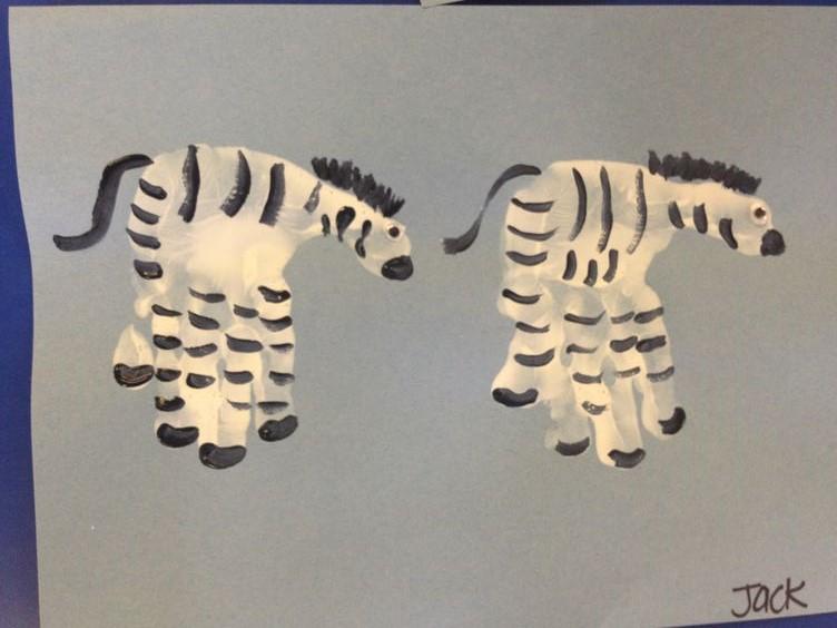 handprint zebra craft idea