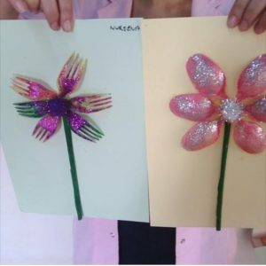 plastic spoon and fork flower craft