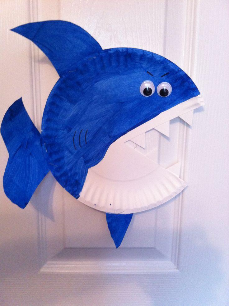 Paper-plate-shark-crafts