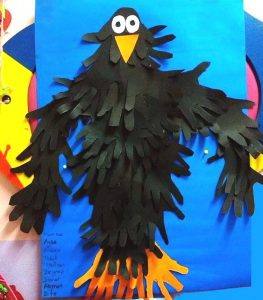 handprint crow bulletin board idea