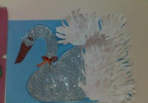 handprint swan bulletin board