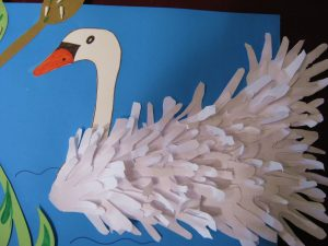 handprint swan bulletin board idea
