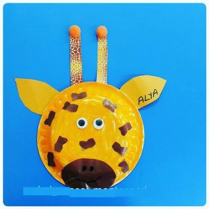 paper plate giraffe craft