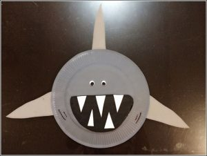 paper plate shark craft idea for kids