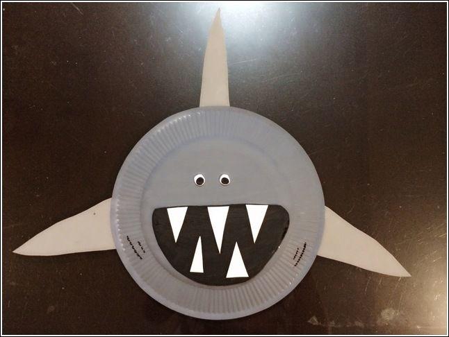 paper-plate-shark-craft-idea-for-kids Ocean Animals Worksheet For Kindergarten on