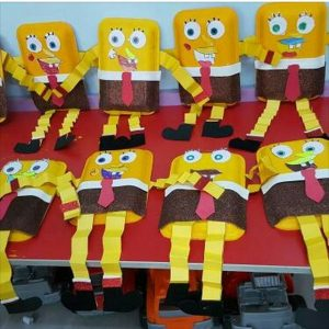 paper plate spongebob craft