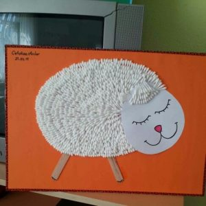qtip sheep bulletin board idea