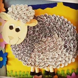 quilling sheep bulletin board idea  (1)