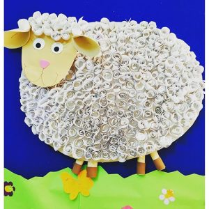 quilling sheep bulletin board idea  (3)