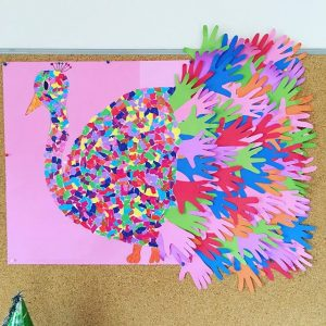 handprint peacock bulletin board idea