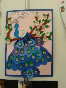 peacock bulletin board idea for kids (2)