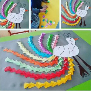 peacock bulletin board idea for kids