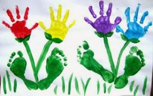 hand and footprint flower craft idea