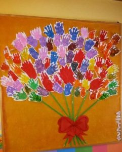 handprint flower bulletin board idea for kids