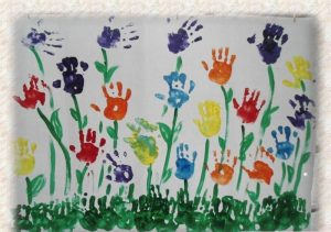 handprint flower bulletin board idea for spring