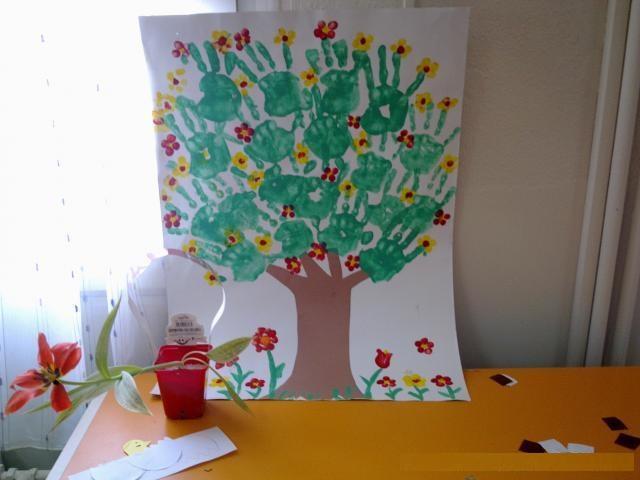 handprint spring tree craft idea for kids