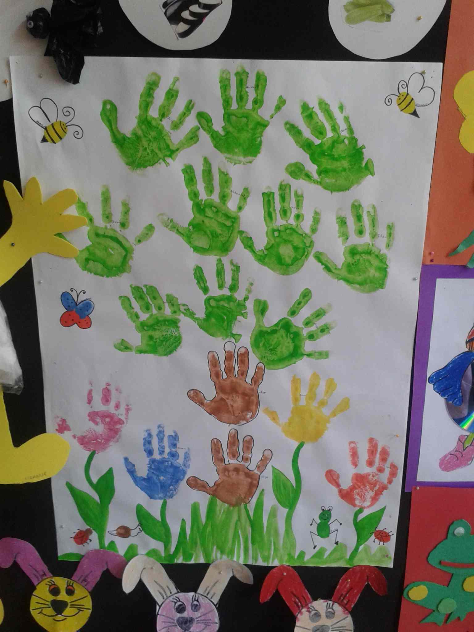 handprint tree bulletin board idea