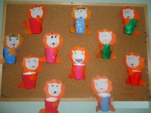 paper cup lion craft idea for kids