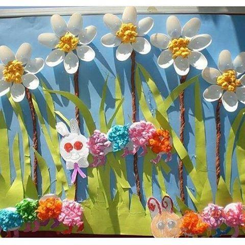 plastic spoon flower bulletin board
