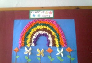 rainbow bulletin board idea for spring