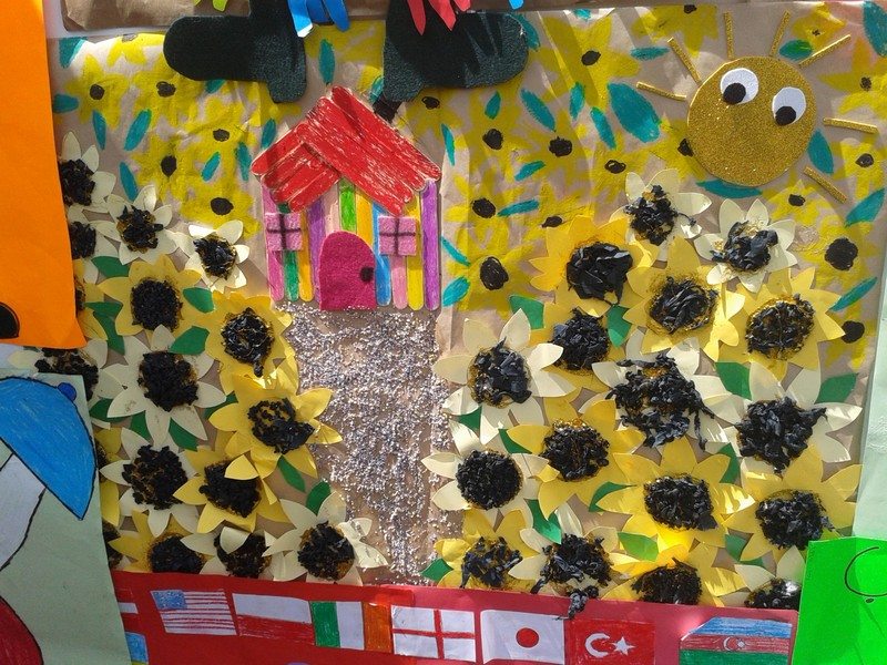 sun flower bulletin board idea