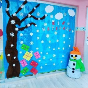 Snowman bulletin board idea for