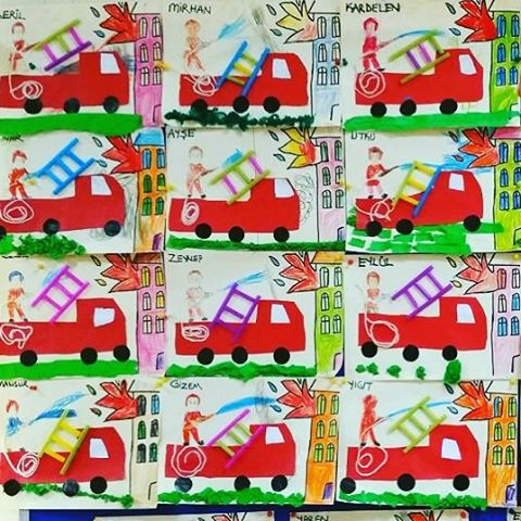 fire truck craft idea for kids