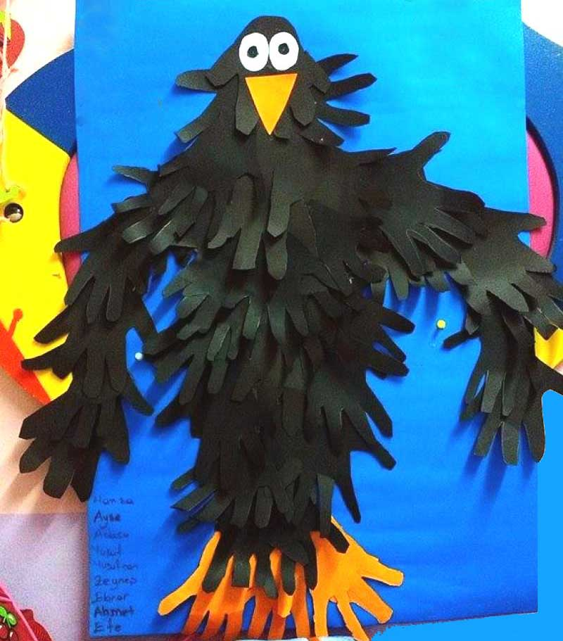 handprint crow bulletin board idea