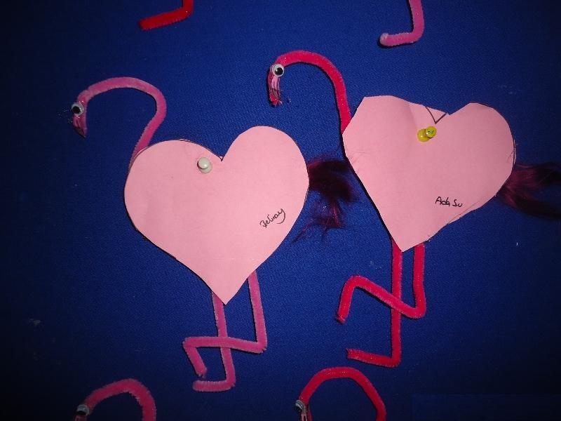 heart flamingo craft
