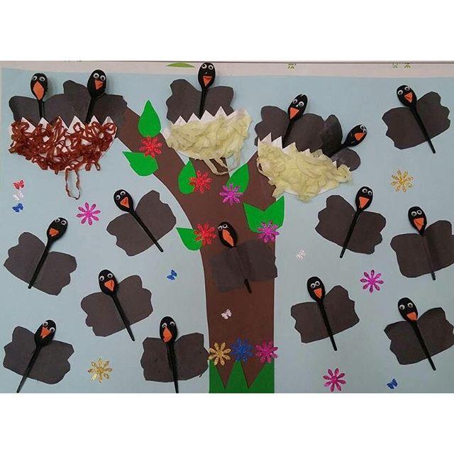 plastic spoon crow bulletin board
