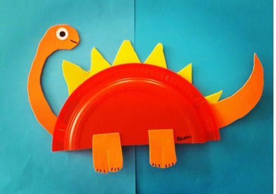 Dinosaur craft idea for kids & Paper plate dinosaur craft idea for kids | Crafts and Worksheets for ...