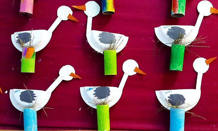 paper plate stork craft idea for kids