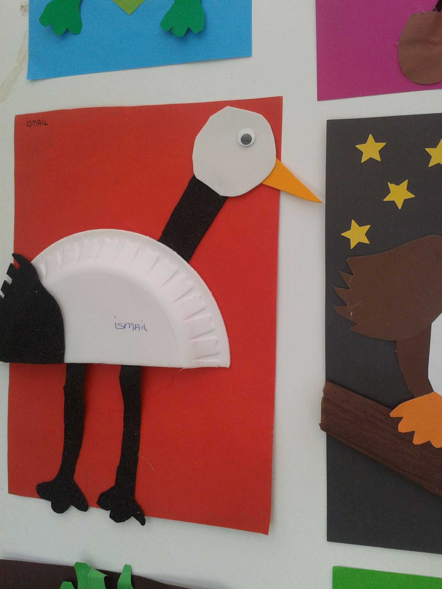 paper plate stork craft idea