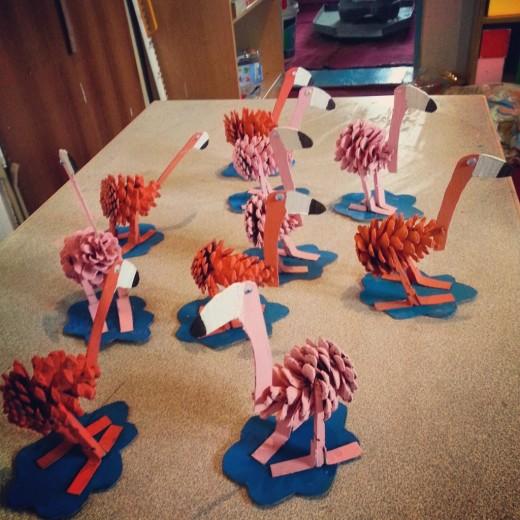 pine cone flamingo craft