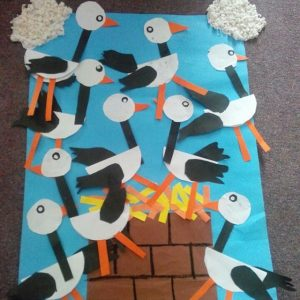stork bulletin board idea for fall season