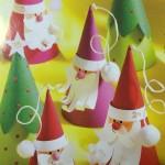 Cute cone Santas and Christmas trees