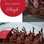 EGG CARTON REINDEERS PULLING SANTA'S SLEIGH